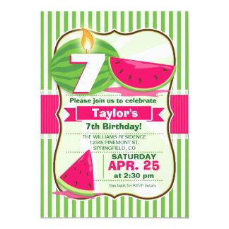 Sandía rosada y verde, fiesta del cumpleaños del invitación 12,7 x 17,8 cm