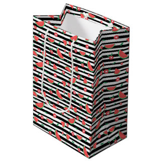 Sandías y rayas bolsa de regalo mediana
