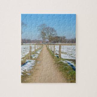Sandpath entre los prados nevosos en invierno puzzle