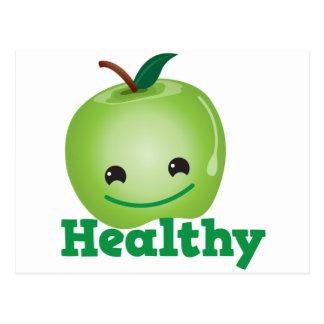 Sano con la manzana verde del kawaii con una cara postal