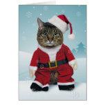 Santa agarra la tarjeta de Navidad