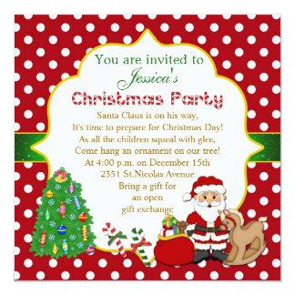 Santa, árbol, caballo mecedora embroma a la fiesta invitación 13,3 cm x 13,3cm