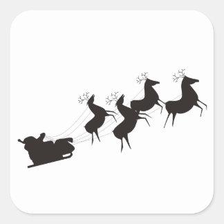 Santa blanco y negro y su trineo pegatina cuadrada