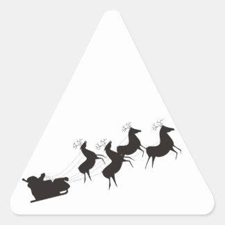 Santa blanco y negro y su trineo pegatina triangular