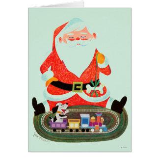 Santa con el tren tarjeta de felicitación