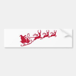 Santa con el trineo y el reno, navidad diseñan pegatina para coche