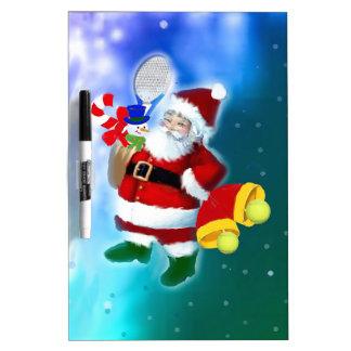 Santa con la estafa y las campanas de tenis pizarra blanca