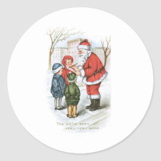 Santa con la lista de objetivos del navidad pegatina redonda