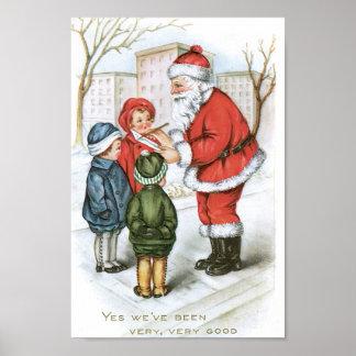 Santa con la lista de objetivos del navidad póster