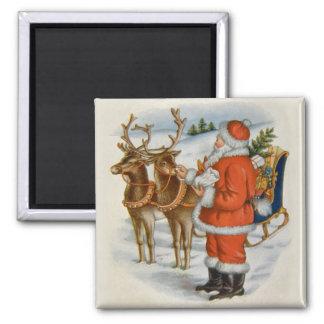Santa con su reno imán cuadrado