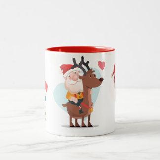 Santa con un muchacho y una taza de café del chica