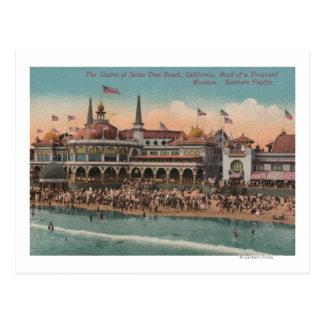 Santa Cruz CA - casino y playa de Santa Cruz Postal