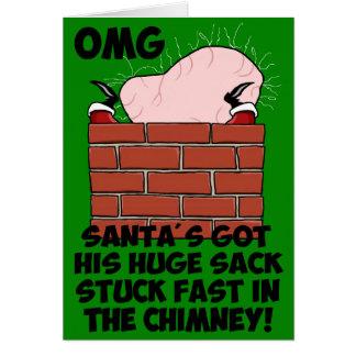 Santa divertido, grosero tarjeta de felicitación