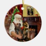 Santa - dos terrieres de frontera ornamento para arbol de navidad