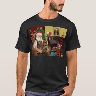Santa - dos terrieres de frontera camiseta