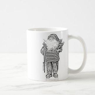 Santa elegante en el dibujo de lápiz del suéter taza