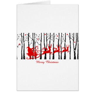 Santa en bosque del árbol de abedul tarjeta de felicitación