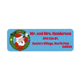 Santa en etiquetas del remite del navidad de la