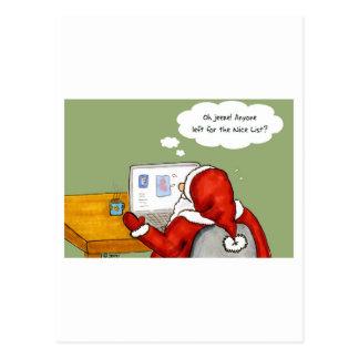 Santa en Facebook Postal