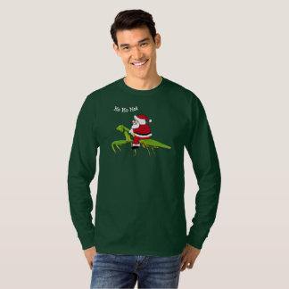 Santa en la camiseta del navidad de la mantis