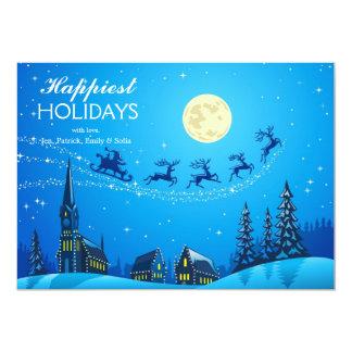 Santa en la noche de navidad del invierno 2 invitación 12,7 x 17,8 cm