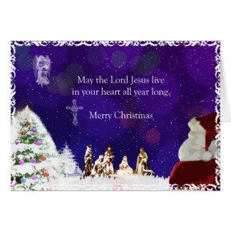 Santa en natividad tarjeta