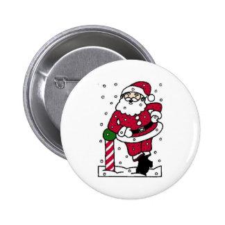 Santa en nieve chapa redonda de 5 cm