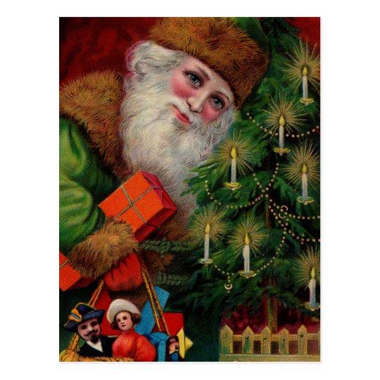 Santa en postal verde