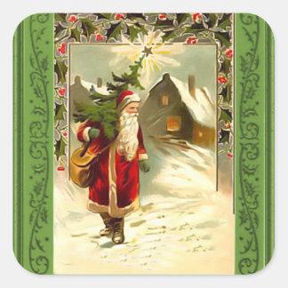 Santa en su manera pegatina cuadrada