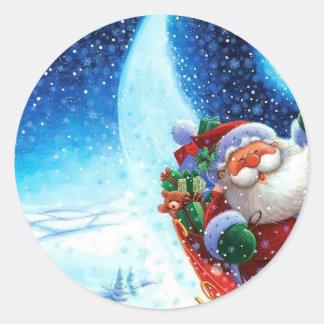 Santa en su trineo etiqueta