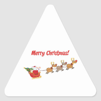 Santa en su trineo pegatina triangular