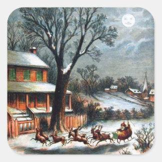 Santa en trineo con el reno pegatina cuadradas