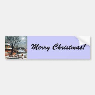 Santa en trineo con el reno pegatina de parachoque
