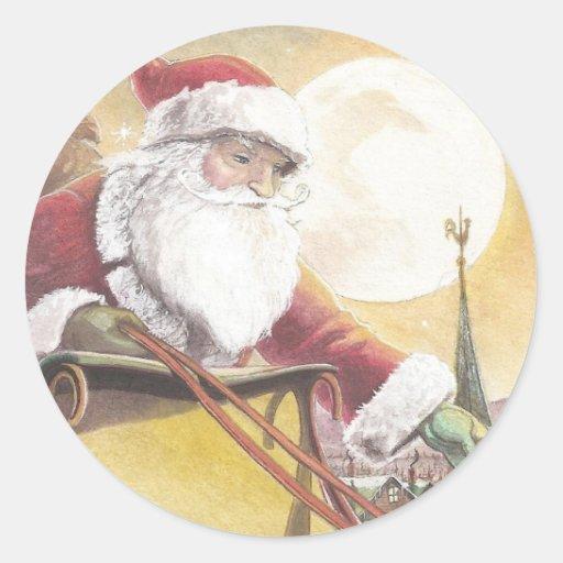 Santa en trineo etiquetas redondas