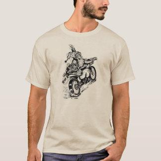 Santa en una camiseta de la motocicleta