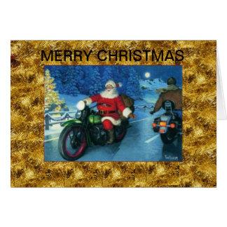 Santa en una tarjeta de Navidad de la motocicleta