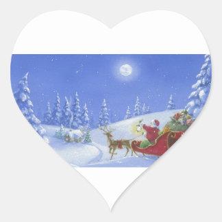 Santa enciende la manera pegatina en forma de corazón