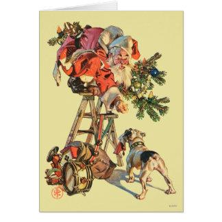 Santa encima de una escalera tarjeta de felicitación