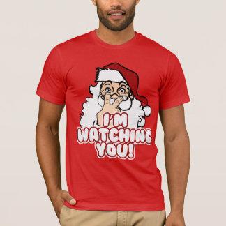 Santa está mirando navidad divertido camiseta