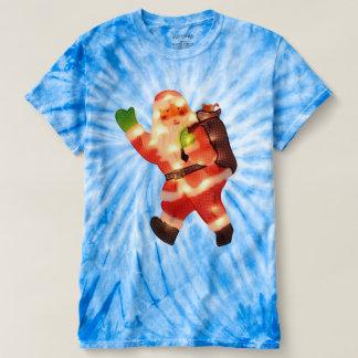 Santa feliz con las falsas luces de navidad camiseta