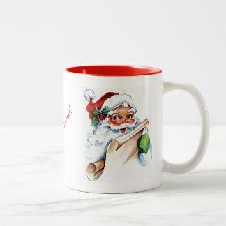 Santa hace frente a la taza de la acuarela