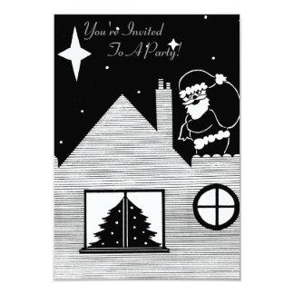 Santa lindo con el saco en arte blanco y negro del invitación 8,9 x 12,7 cm