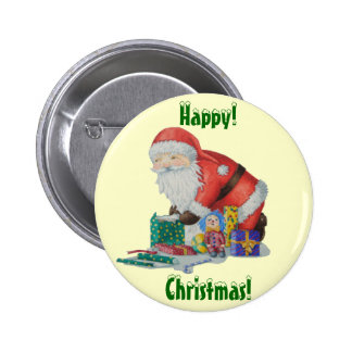 Santa lindo que envuelve los juguetes y navidad de pin