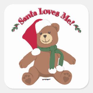 ¡Santa me ama! Oso de peluche del navidad Calcomania Cuadradas Personalizada