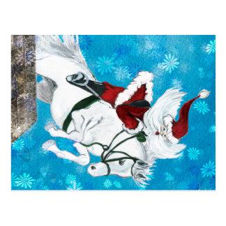 Santa monta un caballo - postal