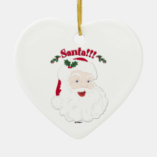 ¡Santa!! Navidad Santa del estilo del vintage Adorno Navideño De Cerámica En Forma De Corazón