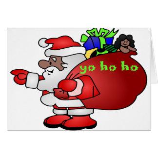 Santa negro Yo Ho Ho Ho BSYHH Tarjeta De Felicitación