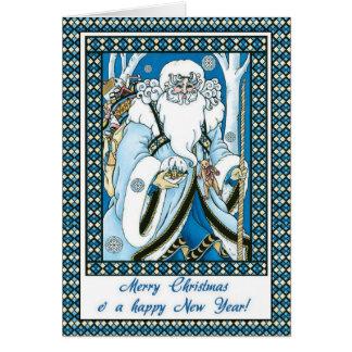 Santa pasado de moda, tarjeta de Navidad del padre