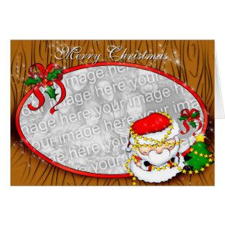 Santa que adorna la plantilla tarjeta de felicitación