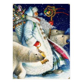 Santa que camina con los osos polares postal